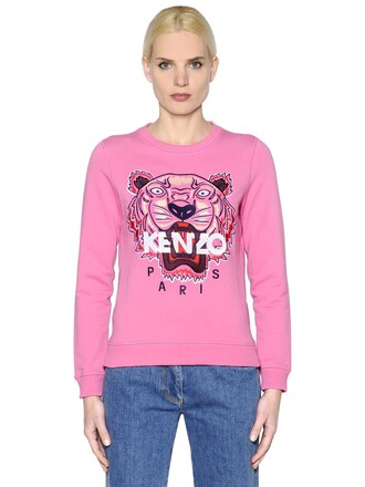 sweatshirt embroidered tiger cotton pink sweater