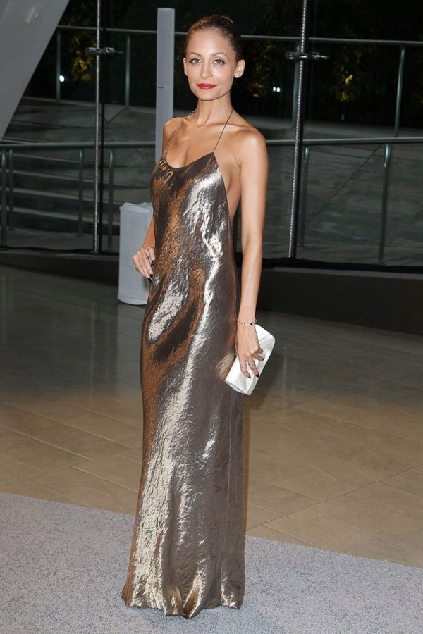 dress nicole richie silver gold metallic dress gold dress silver dress red carpet dress low back dress low back maxi dress maxi party dress sexy backless dress
