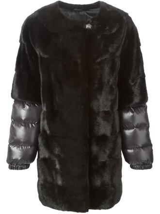 coat fur coat fur women black silk