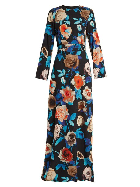 dress floral print black