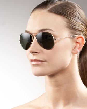 Ray-Ban Original Aviator Sunglasses, Golden/Green - Neiman Marcus