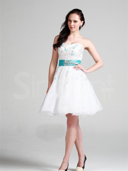 dress white sleeveless rhinestones princess homecoming dresses