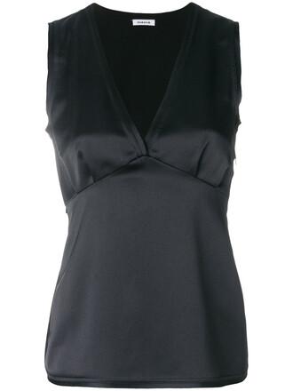 blouse back women black top