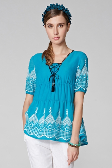 Elegant Embroidered Pattern Shirt [FDBI00437]- US$ 68.99 - PersunMall.com
