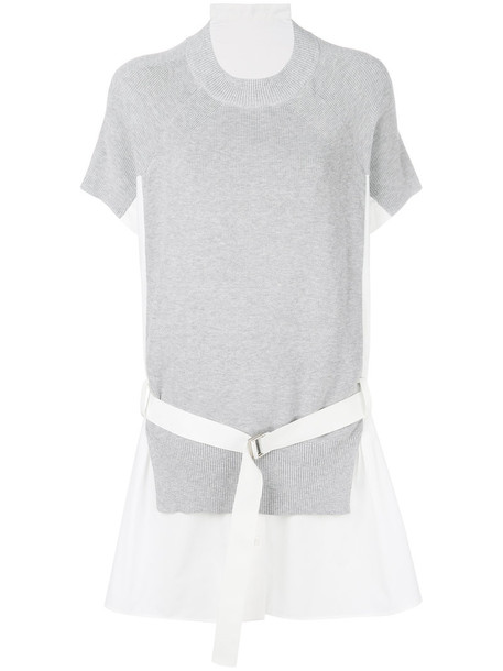 Sacai dress knitted dress women cotton grey
