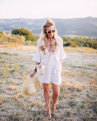 dress hat tumblr mini dress white dress stripes striped dress sandals flat sandals sun hat bag round bag sunglasses shoes