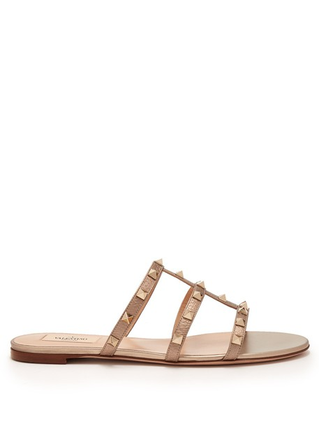 Valentino sandals leather sandals leather gold shoes