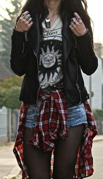 jacket flannel punk grunge edgy hipster leather jacket faux leather flannel shirt