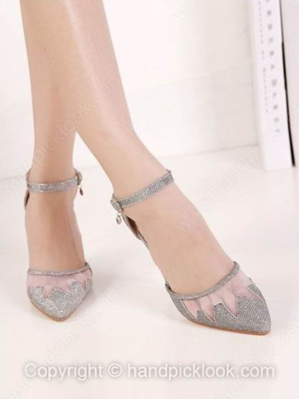 Silver Stiletto Heel Sandals Closed Toe With Ankle Strap