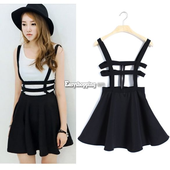 Strap dress skater suspender skirt mini women zip playsuit chic kawaii es9p