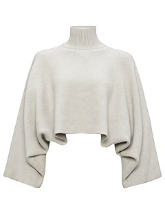 Jaeger Cropped Sweater Grey - House of Fraser