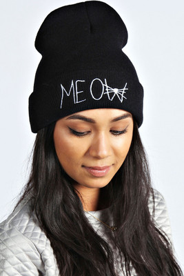 Boohoo Jessica Meow Embroidered Beanie - Polyvore