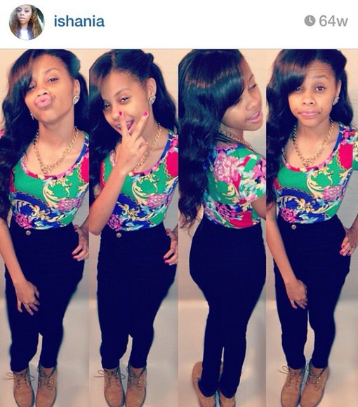 green gold red blue pink flowers yellow high waisted jeans @ishania ishania she so pretty cute