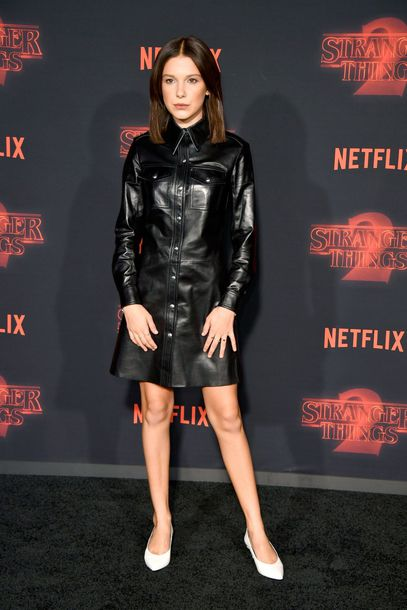 dress millie bobby brown black dress leather dress fall outfits fall dress