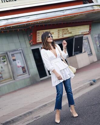 top white top tumblr v neck v neck dress denim jeans blue jeans pumps pointed toe pumps high heel pumps sunglasses shoes