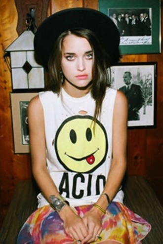 blouse shirt acid wash smiley smiley face top grunge grunge t-shirt