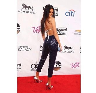 pants top backless black white kendall jenner kardashians sequins shiny long pants tight bottoms kendall jenner white top backless