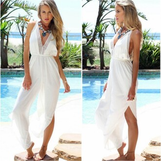 jumpsuit white sleeveless bohemian beach jumpsuit white j white jumpsuit sleeveless jumpsuit sleeveless dress bohemian bohemian jumpsuit beach beach jumpsuit summer party pool pool party best outfit girly sexy backless backless jumpsuit sexy jumpsuit long jumpsuit long bohemian dress sexy party dresses