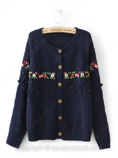 Navy Long Sleeve Floral Pattern Fashion Knit Top - HandpickLook.com