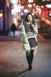 sensible stylista,blogger,shoes,jewels,dress,scarf,thigh high boots,mini dress