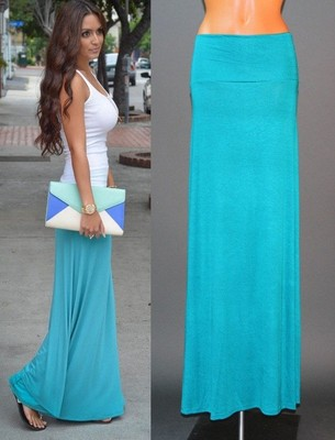 93f29bf575aa Turquoise Fold Over Waist Banded Urban Minimalist Knit Long Maxi ...