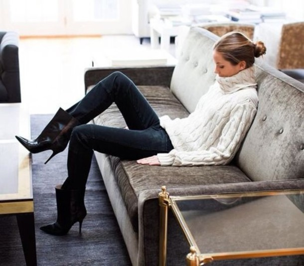 Sweater: turtleneck, white, chunky sweater, cable knit, shoes ...