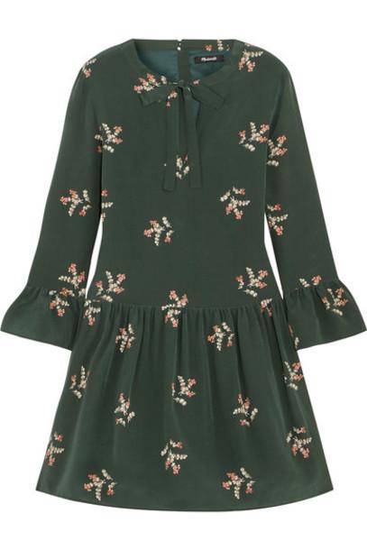 dress mini dress bow mini dark floral print silk green