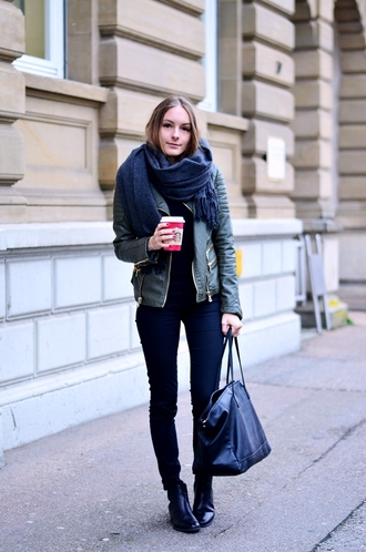 by annna blogger scarf leather jacket handbag