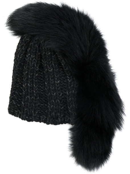 Ca4la fur fox women beanie black wool hat