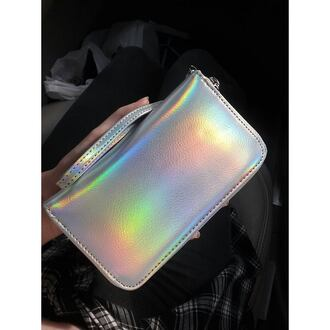 bag holographic holographique multicolor multicolored love white rainbow