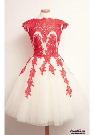 dress lace dress red dress short prom dress tulle dress keyhole dress