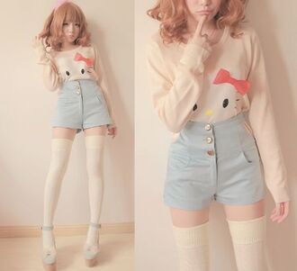 sweater hello kitty high waisted hello kitty shirt knee high socks thigh highs shorts high waisted shorts pastel underwear t-shirt white kawaii hello kitty kawaii socks cream shirt clothes