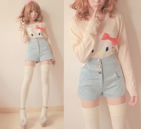 sweater hello kitty high waisted hello kitty shirt knee high socks thigh highs shorts High waisted shorts pastel underwear pastel t-shirt white kawaii hello kitty kawaii High waisted shorts socks cream knee high socks shirt clothes