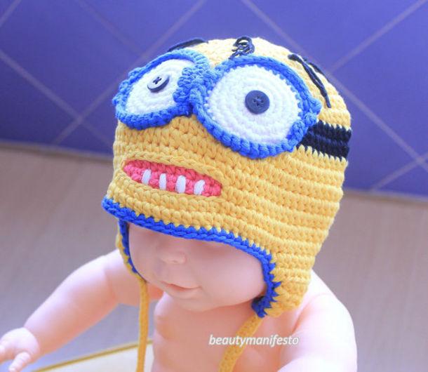 crochet baby minions minion hat minion crochet hat despicable me hat kids  crochet hat earflap hat b9de4996d47