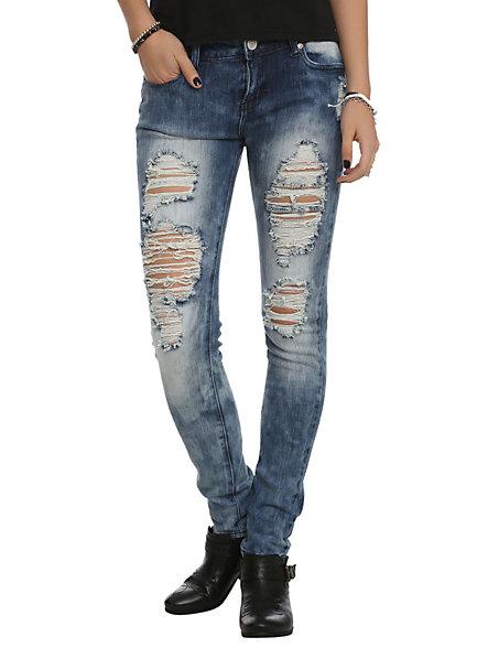 Puzzle indigo ripped super skinny jeans