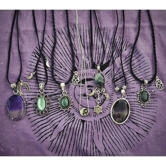 jewels hippie indie boho hipster hamsa moon stone green purple stars necklace gypsy i want a necklace with these kinds of gems and the black chord