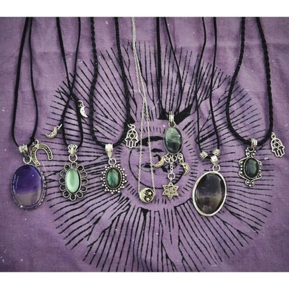 jewels necklace green stone necklaces hippie hippy indie boho hipster hamsa moon purple star gypsy