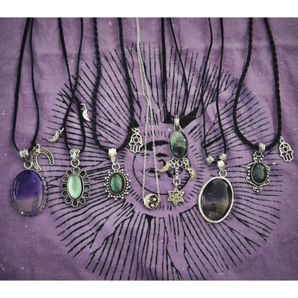 jewels necklace hippie hippie indie boho hipster hamsa moon stone green purple stars necklace gypsy i want a necklace with these kinds of gems and the black chord
