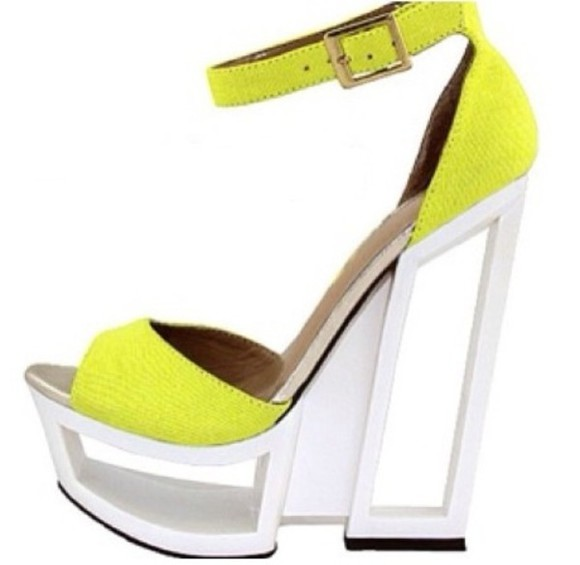 shoes pump neon yellow wedge unique cool open toe