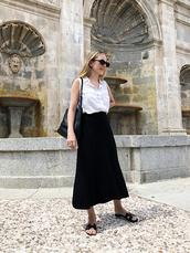 skirt,midi skirt,black skirt,slide shoes,shirt,bag,sunglasses