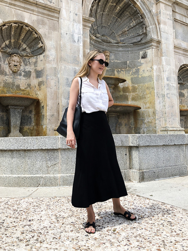 skirt midi skirt black skirt slide shoes shirt bag sunglasses