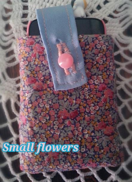 bag purse/iphone case iphone cover iphone case smartphone floral floral pattern blue blue bag pink bag kawaii kawaii bag cute bag girl