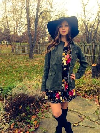 romper hat fedora jacket floral print