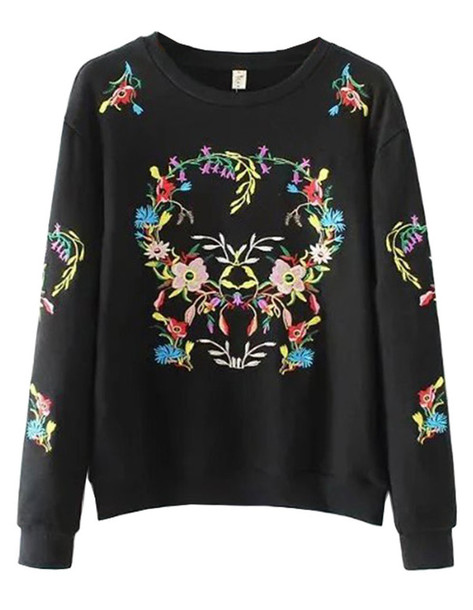 sweater brenda-shop sweatshirt pullover embroidered floral black cool cute cute outfits jumper back to school