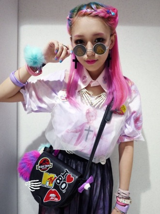 shirt pink eva cheung kawaii creepy cute religious religious style