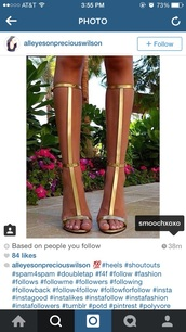 shoes,golden gladiator heels,gold gladiator sandals,gold,straps,heels,sandals