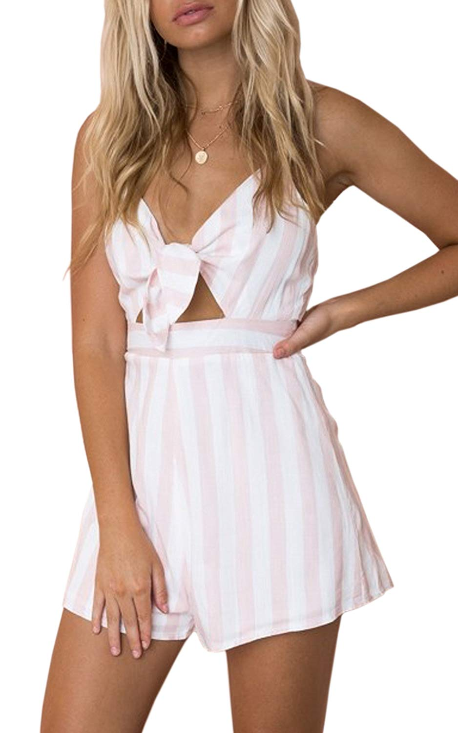 Amazon.com: ECOWISH Womens Rompers Summer Beach Spaghetti Strap Jumpsuit V Neck Backless Short Pants Rompers (with A Separate Tie): Clothing