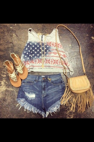 american flag july 4th fourth of july clothing summer dress summer outfits outfit cute tumblr outfit high waisted shorts denim shorts bag shoes