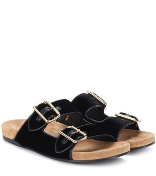 Prada Velvet slip-on sandals in black
