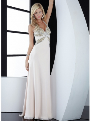 Buy Stunning White A-line Straps Beadings Sweep Train Chiffon Prom Dress under 200-SinoAnt.com